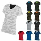 LADIES MOISTURE WICKING, V-NECK, SHORT SLEEVE, T-SHIRT w/ PRINT, S M L XL 2X