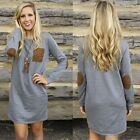 Women Round Neck Long Sleeve Jumper Pullover Mini Dress Long Tops Shirt Dress