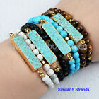 "14"" Gold Plated Blue Turquoise Bar Wrap Bracelet With 6mm Mixed Stones GG0791"