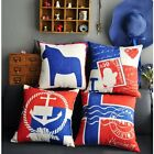 Red & Blue British Style Pillow Case Cushion Cover Square 45cm Linen Home Decor