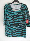 CORAL BAY MISSES TURQUOISE BLACK 3/4 SLEEVE KNIT TOP WITH SILVER INSERT $32