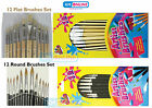 12 Piece Artist Brushes Paint Brush Flat/Round Natural Assorted Sizes Art Crafts