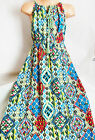 GIRLS BLUE MULTI COLOUR TRIBAL ART PRINT BOHO LONG LENGTH COTTON MAXI DRESS
