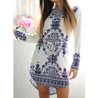 Retro Casual Comfortable Long Sleeve Porcelain Flower Printed Vintage Dress AU