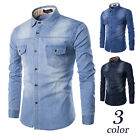 Stylish Mens Jeans Casual Slim Fit Long Sleeve Wash-Vintage Denim Shirts Fashion