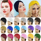 Unisex Stretchy Turban Head Wrap Band Chemo Bandana Hijab Pleated Indian Cap Hat