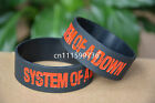 "SYSTEM OF A DOWN Silicone 1"" Wide Debossed Filled in Colour Wristband Bracelet"