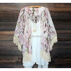 Lady Lace Floral Printed Long Sleeve Chiffon Kimono Cardigan Coat Tops Blouse N9