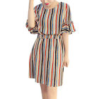 Women Bell Sleeves Elastic Waist Stripes A Line Dress