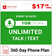 Red Pocket 1 Year Prepaid Wireless Phone Plan (Best Value) -No Contract, SIM Kit