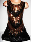 GIRLS 60s STYLE BLACK SEQUIN GOLD FLAME EVENING DISCO PARTY DRESS