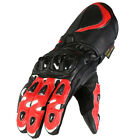 Mens Red & Black Armoured Cowhide Leather Motorcycle Motorbike Vented Gloves