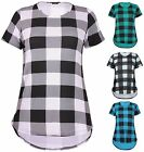 Womens Plus Size Check Print Ladies Short Sleeve Uneven Hem Fishtail T-Shirt Top