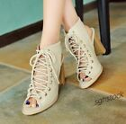 Plus Size New Womens Roman Lace Up High Block Heels Slingbacks Casual Sandals