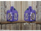 "2 Small MINI purple 5"" Candle Holder colonial lantern outdoor patio fairy light"