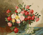 Pink Red White Yellow Roses In Glass Urn Tapestry Needlepoint Canvas 019