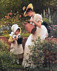 Beautiful Mother & Girl In Garden Printed Needlepoint Canvas 098