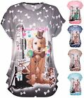 Womens Plus Size Glitter Puppy Dog Animal Print Ladies Cap Sleeve Baggy Long Top