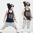 2PCS Kids Baby Boys Toddler T-shirt Vest Tops + Shorts Pants Clothes Outfits Set