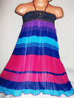GIRLS DENIM TRIM BLUE PINK STRIPE BLOCK PRINT CHIFFON PLEATED PARTY DRESS
