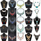 Vintage Women Charms Chain Crystal Choker Chunky Statement bib Necklace Jewelry