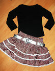 GIRLS BLACK TOP & CORAL WHITE BOW GLITTERY PRINT RUFFLE PARTY SKIRT with BELT