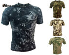 Tactical Short Sleeve T-shirt Men Rattlesnake Camouflage Print Shirt Hunting CS