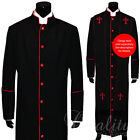 Clergy Robe Solid Black Red Piping Cassock Full Length Preacher Retail $200