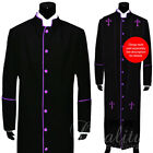 Clergy Robe Solid Black Purple Piping Cassock Full Length Preacher Retail $200