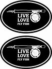 2pcs - LIVE LOVE FLY FISH - fishing boat stickers TROUT MUSKY BASS - FS148