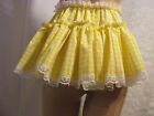 """SISSY ADULT BABY SEXY FANCY DRESS YELLOW GINGHAM MICRO MINI FRILLY SKIRT 11""""LONG"""