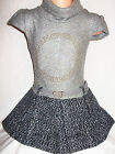GIRLS GREY GOLD SPARKLE PEACE LOGO KNIT WOOLLY WINTER PARTY DRESS with BELT
