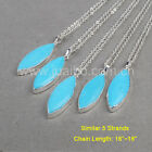 Wholesale 5Pcs Marquise Blue Howlite Turquoise Necklace Silver Plated BS0836-N