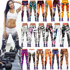Womens YOGA Workout Gym Print Sports Pants Leggings Fitness Stretch Trousers New