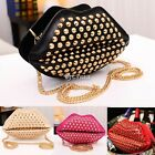 Fashion Girls Womens Lips Rivet Studded Clutch Chain Shoulder Bag Purse Handbag