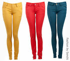 NEW LADIES LOW RISE COLOURED RUST MUSTARD YELLOW TEAL SKINNY JEANS SIZE 6-14