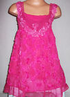 GIRLS CERISE PINK LACE ROSETTES TRIM CHIFFON PARTY DRESS & LEGGING
