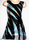 GIRLS 60s STYLE BLACK SILVER SLASH PATTERN SEQUIN EVENING DANCE PARTY DRESS