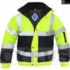 HI VIS HI VIZ HIGH VISIBILITY MENS BOMBER JACKET SAFETY PADDED 2 TWO TONE WORK