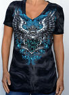 Sinful by Affliction - CAPTOR -  Woman's V-Neck T-Shirt - NEW - S3195 - Black