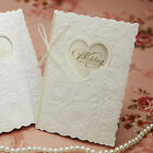 Custom White Wedding Invitations Embossed Flowers Thin Ribbon Gold Foil BH5003