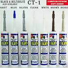 CT1 CT 1 ADHESIVE SEALANT SILICONE CONSTRUCTION BOND SEALING REPAIR BLACK CLEAR