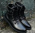 Cool New Punk Men's Lace Up Synthetic Leather Ankle Boots Flat Heel Shoes Size