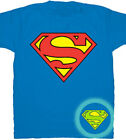 the superman logo - DC Comics Superman Glow In The Dark Shield Logo T-Shirt - Officially Licensed T