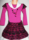 GIRLS BRIGHT PINK & BLACK FAIR ISLE PATTERN WINTER PARTY DRESS with NECKLACE