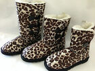 SCOOP PURCHASE LADIES LEOPARD PRINT UGG  BUTTON  BOOTS PULL ON BROWN BLACK