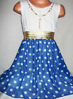 GIRLS WHITE LACE BLUE SPOT PRINT CHIFFON DIP HEM PARTY DRESS with NECKLACE