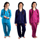 Ladies Traditional PJ Set With Button Shirt & Long Bottoms Night Sleep Wear New
