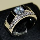 Size 8-13 Men Fashhion Jewelry 925 Silver White Topaz CZ Women Band Finger Ring