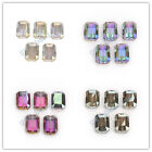 Square Faceted Crystal Glass Charms Beads Spacer DIY Jewelry Makings 18x12mm